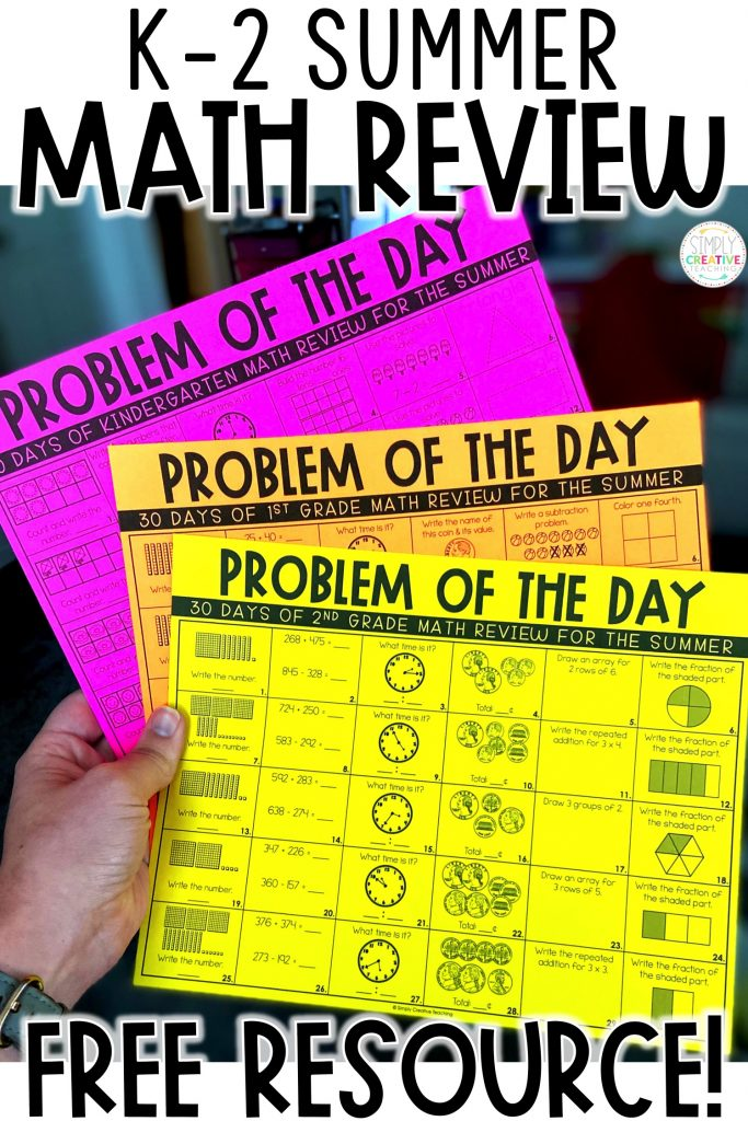 Summer math review worksheets title image
