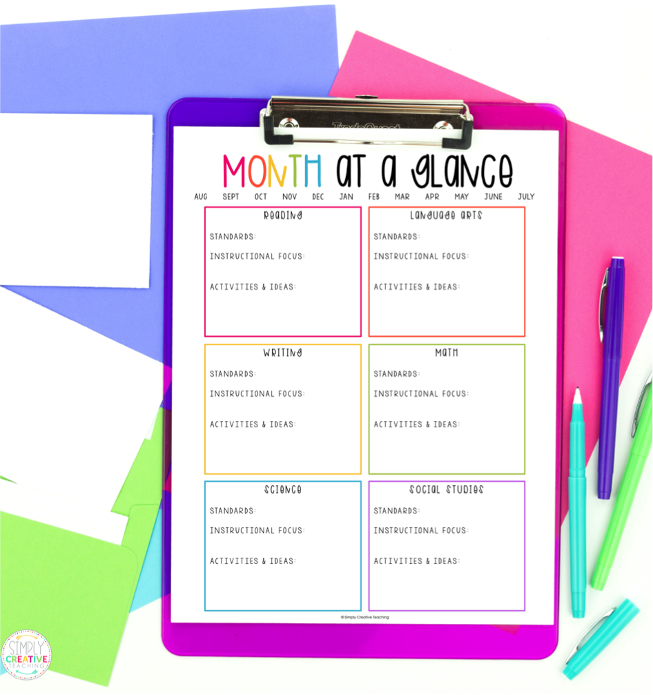 These are month at a glance planning templates for teachers.