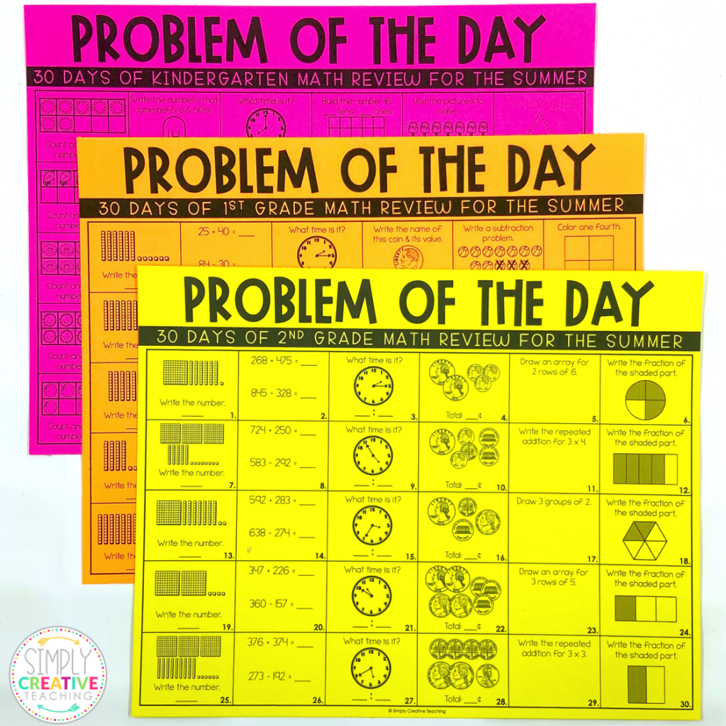 These are examples of the kindergarten, 1st grade, and 2nd grade math review sheets.