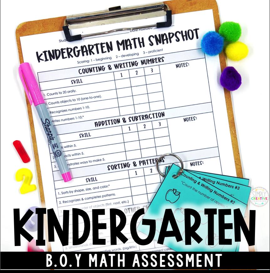 Kindergarten Math assessment for beginning of the year
