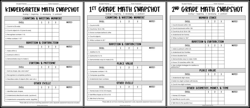 Kindergarten, 1st grade, and 2nd grade beginning of the year math assessmentes