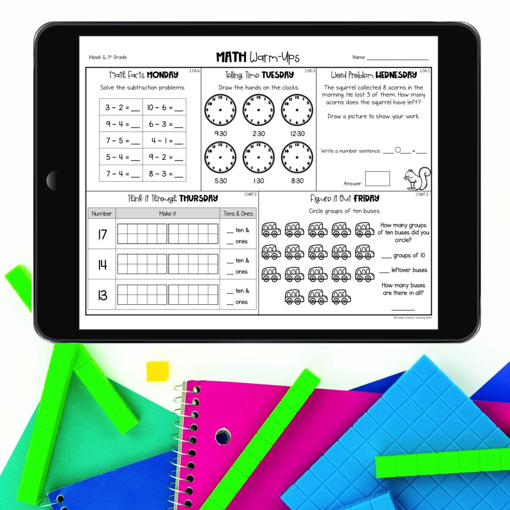 Spiral math warm ups page on the iPad.