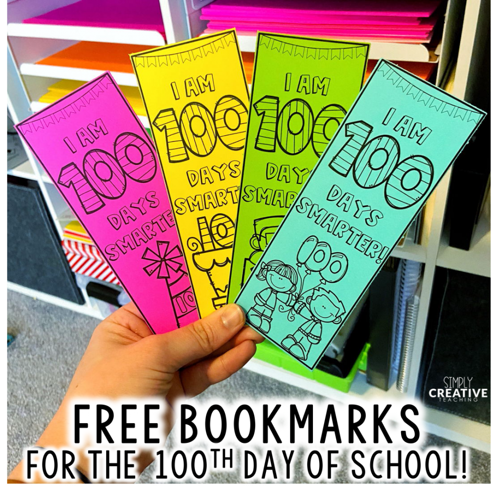 100th day bookmarks