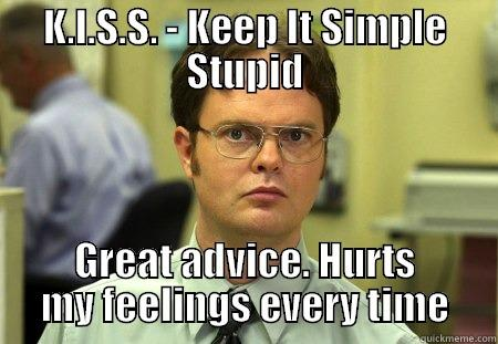 "Picture of Dwight Schrute saying ""Keep it simple stupid"""
