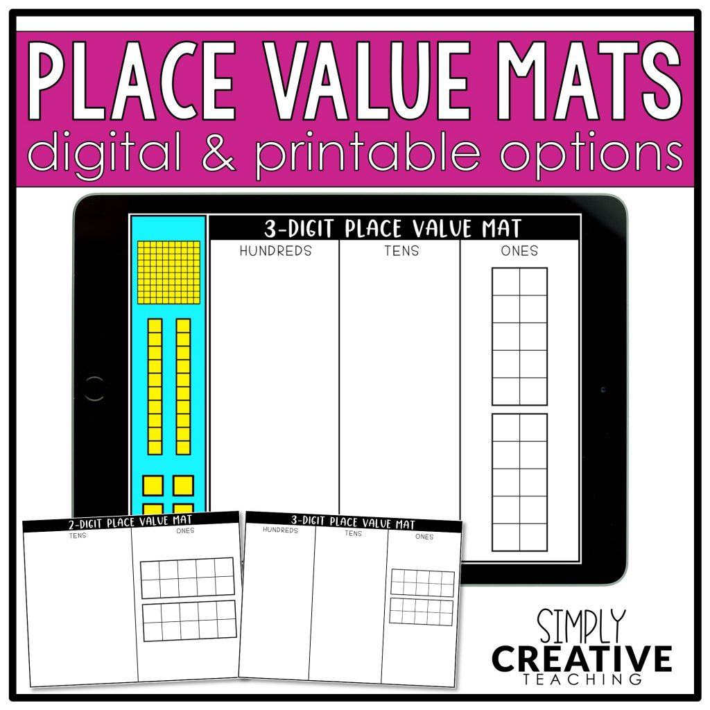 This image shows a link to the digital and printable place value mats.