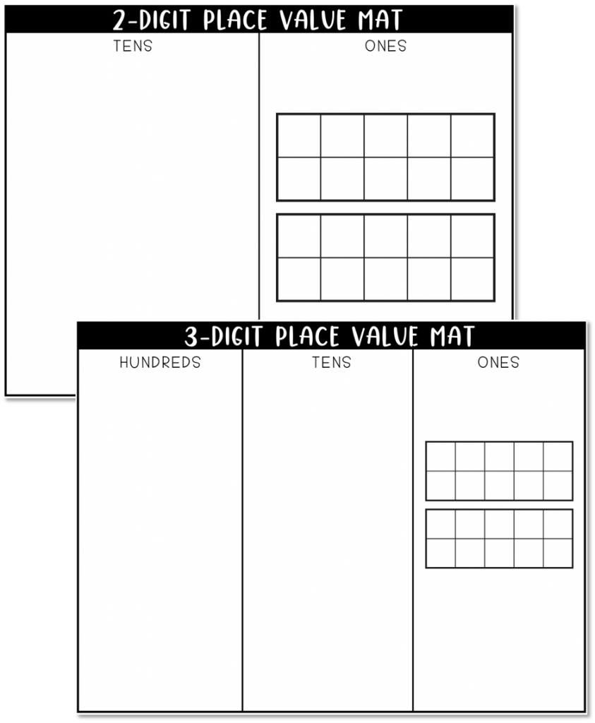 This image shows blank place value mats for 2-digit and 3-digit.