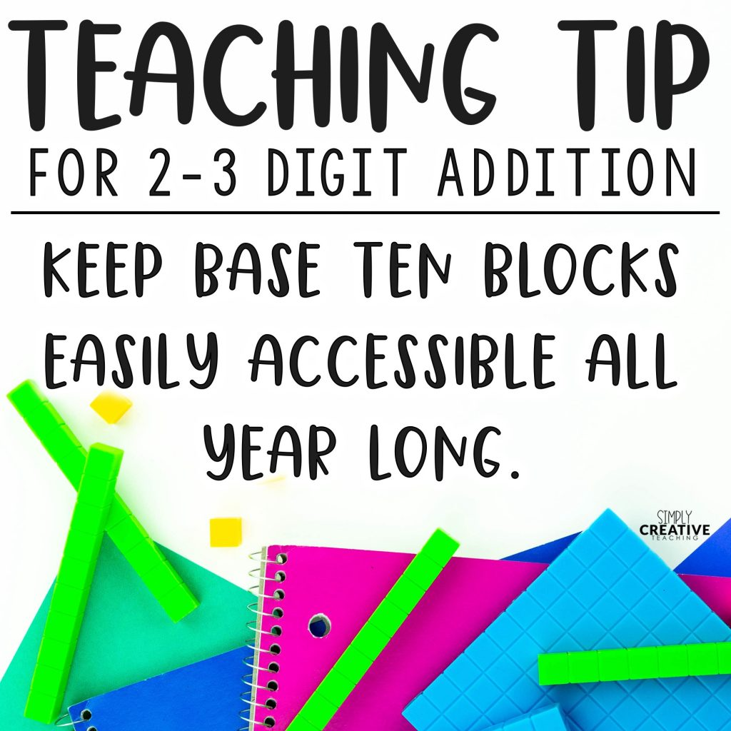 Teaching Tip for 2-3 Digit Addition: Keep base ten blocks easily accessible all year long instead of using the standard algorithm.