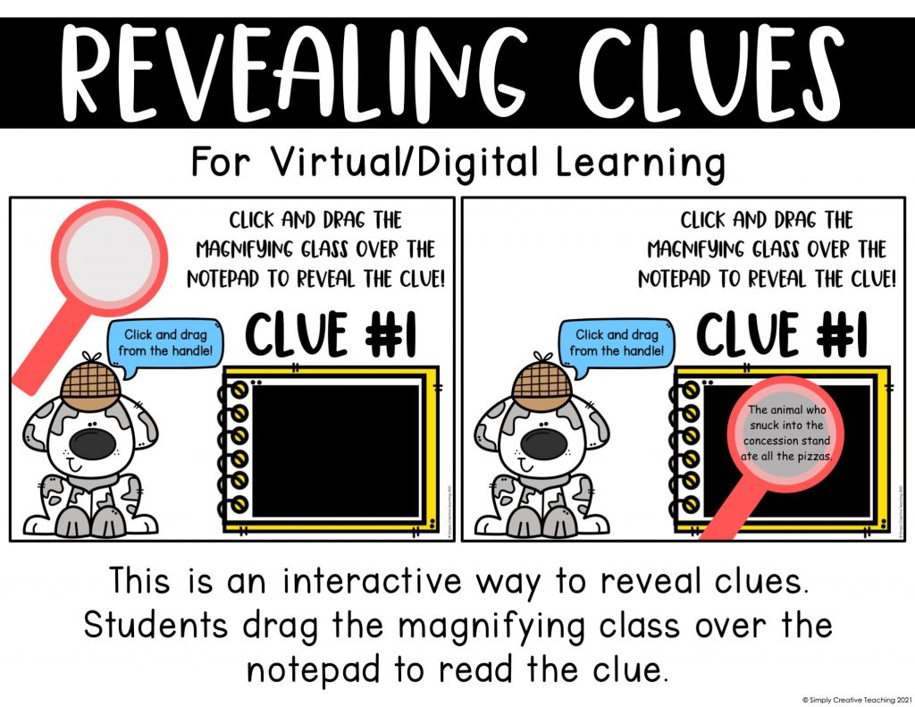 Image shows how students can access clues during virtual learning