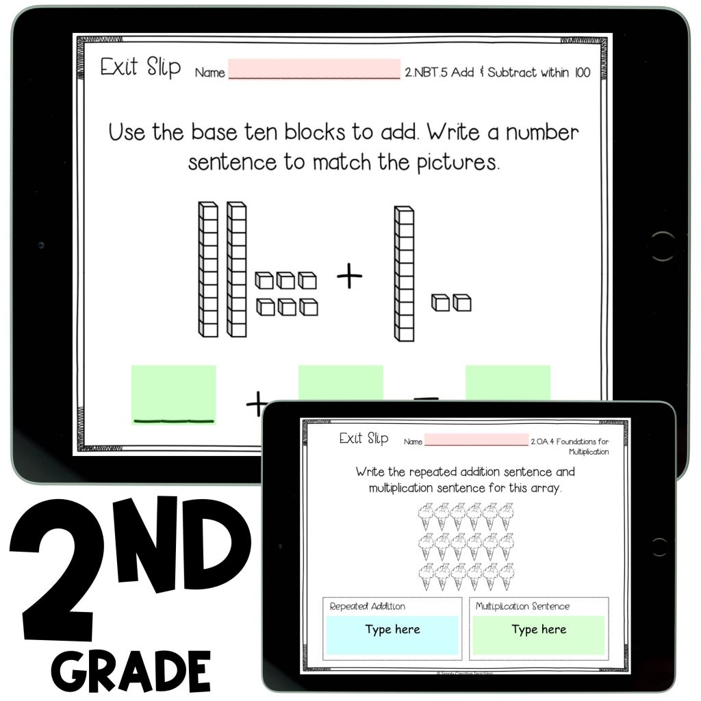 image shows 2nd grade exit tickets