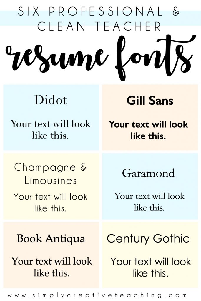 This image shows 6 professional and clean fonts for resumes: Didot, Gill Sans, Champagne & Limousines, Garamond, Book Antiqua, & Century Gothic.