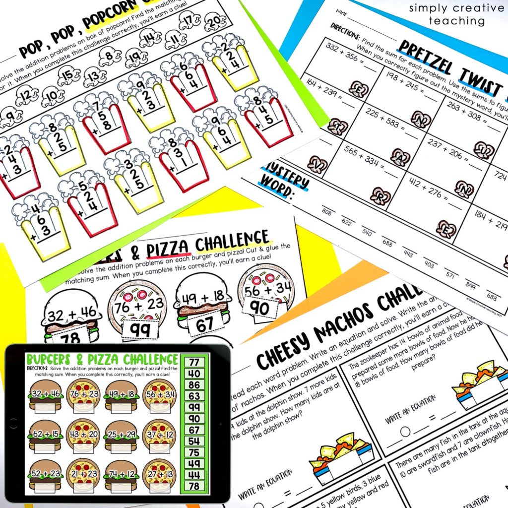 Image shows the printable worksheets for the math mystery challenges