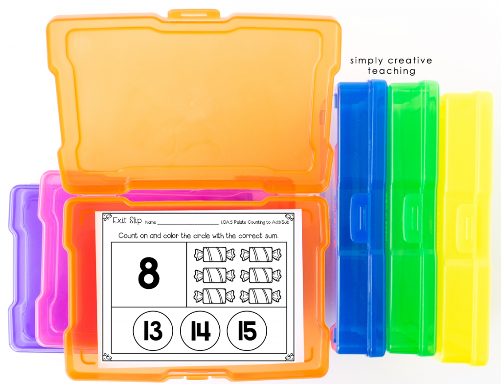 Example assessment idea. Math exit tickets slips example in storage bins