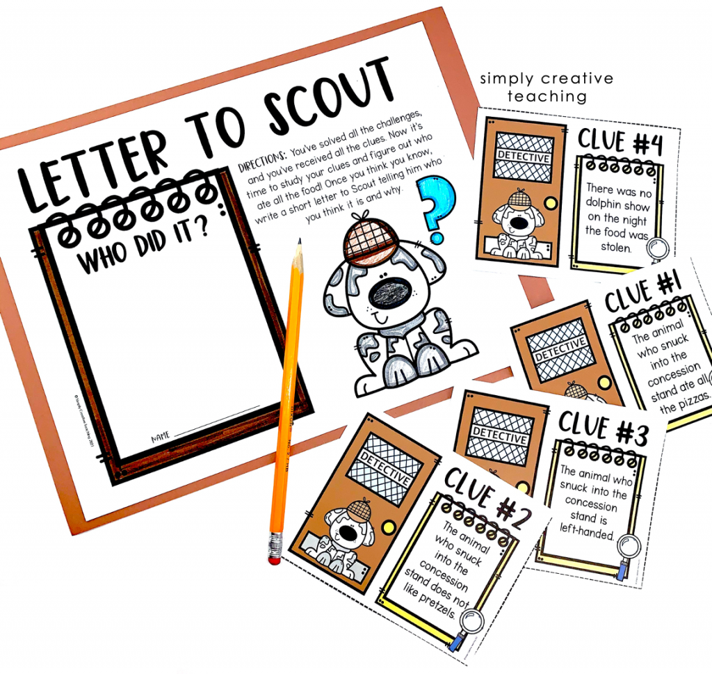 Image shows the printed version of the clues.