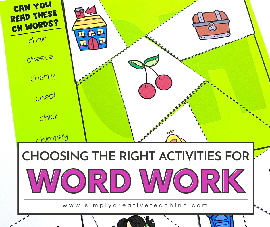 Picture reads: Choosing the right activities for word work