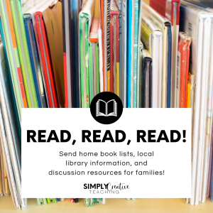 Summer learning tip - Image reads: Read, read, read! Send home book lists, local library information, and discussion resources for families!