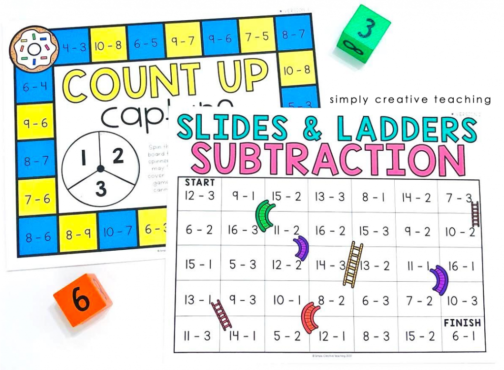 Subtraction Strategy: Count up & slides/ladders game