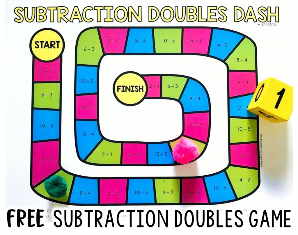 FREE Subtraction strategy doubles game