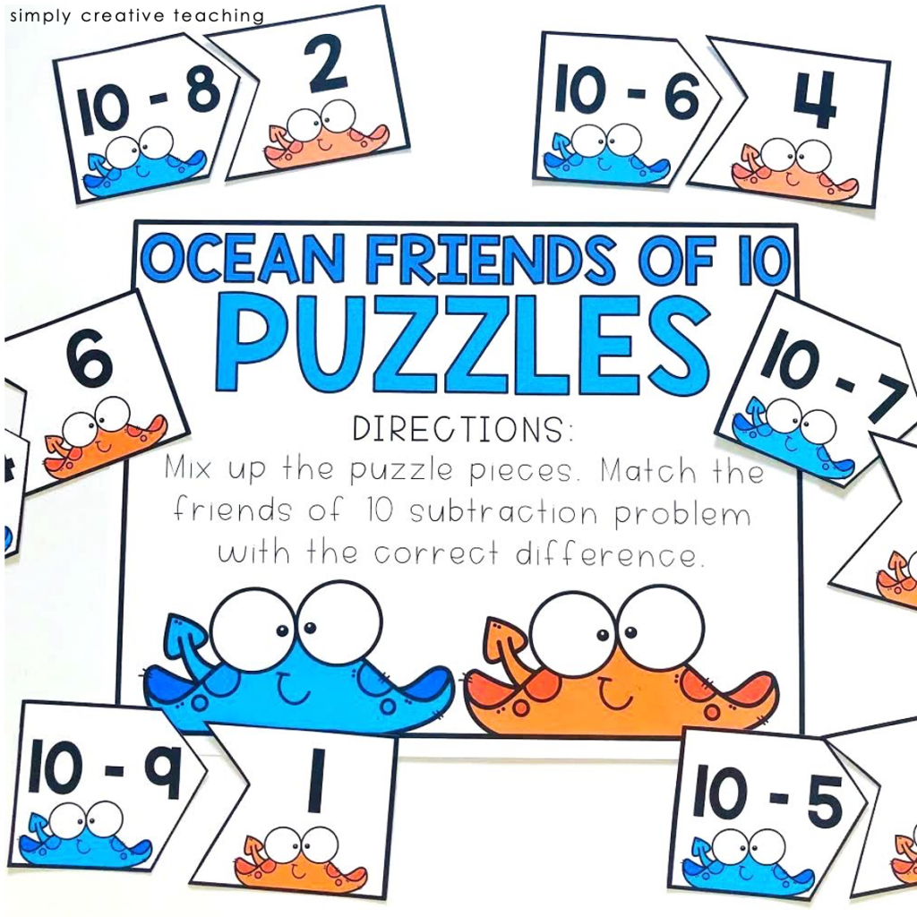 Subtraction strategy games: Ocean friends of 10 puzzles