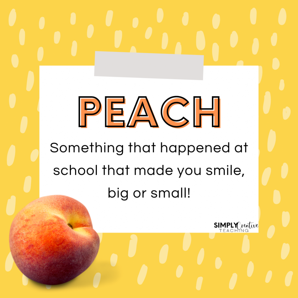 Peaches End of the Day Routine to promote classroom community