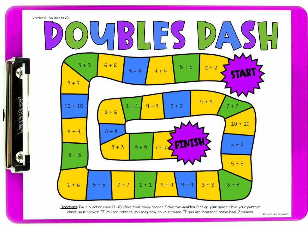 Picture shows Doubles Dash board game as a free download for math facts practice