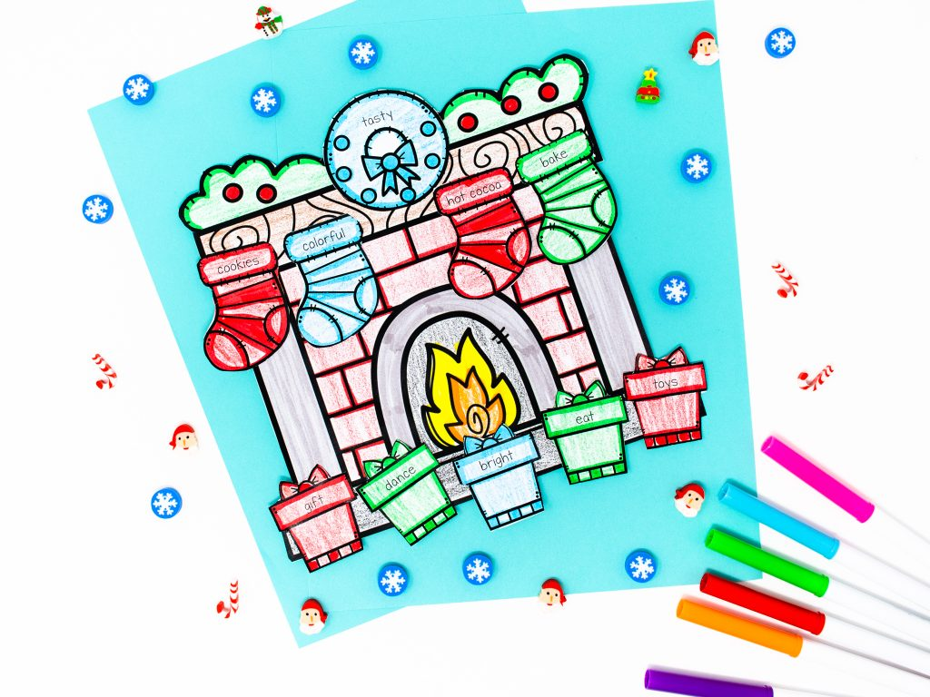 Image shows an example of a Christmas craft for the classroom
