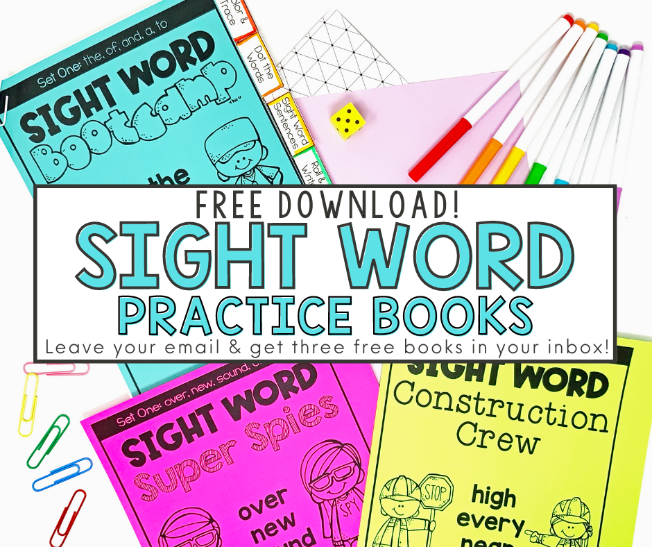 Free Download: Sight Word Practice Books - Leave your email and get three free books in your inbox!