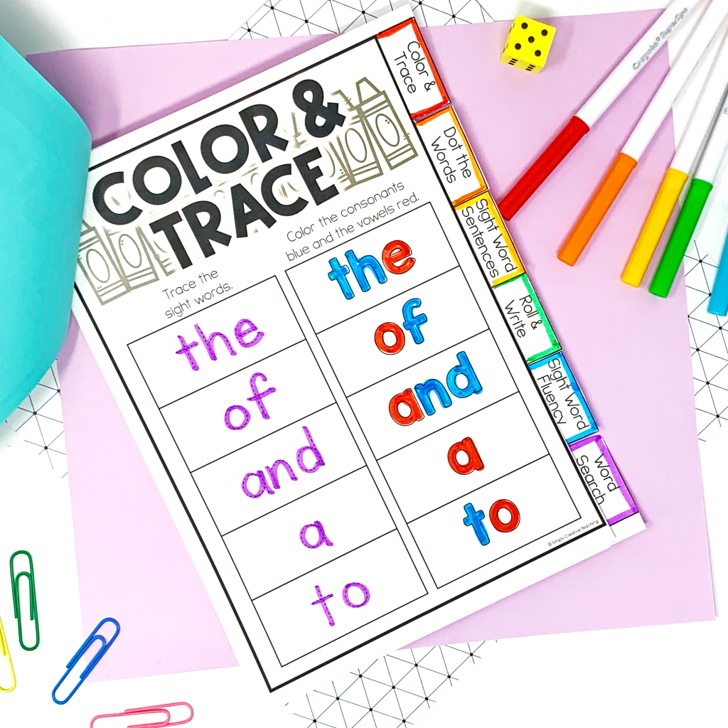 Image shows a sight word worksheet where students color and trace the words.