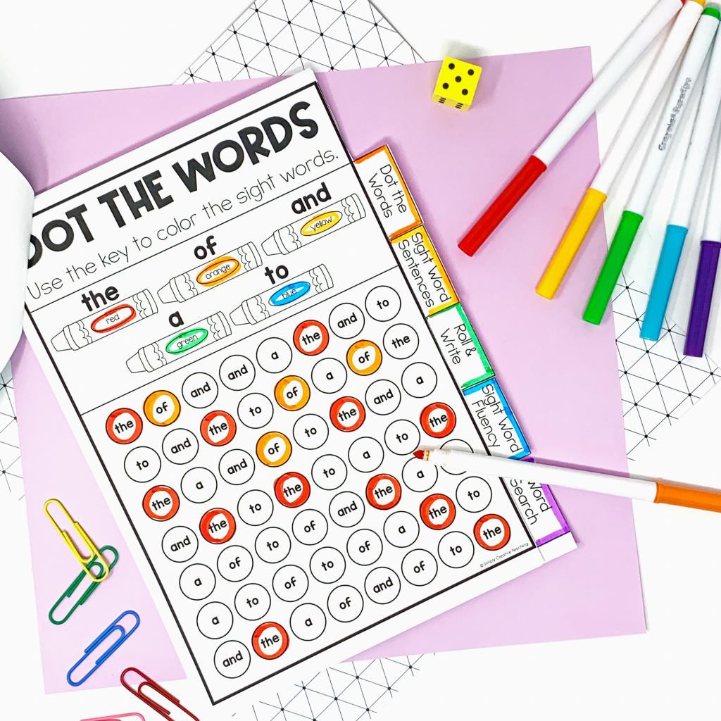 Image shows a sight word worksheet where students dot the sight words.