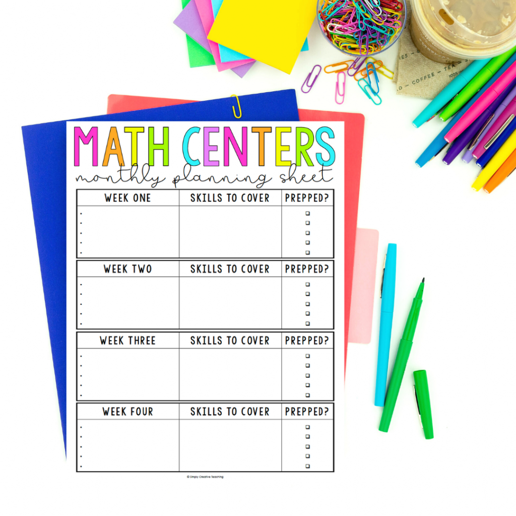 Image shows a monthly planning sheet for math centers