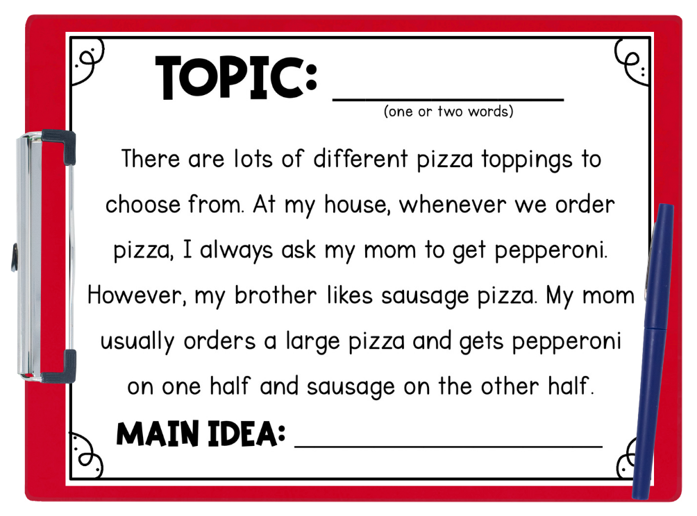 Image shows a worksheet about the main idea in a paragraph about pizza toppings.