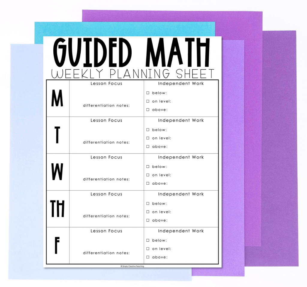 Image shows a weekly planning sheet for guided math lessons.