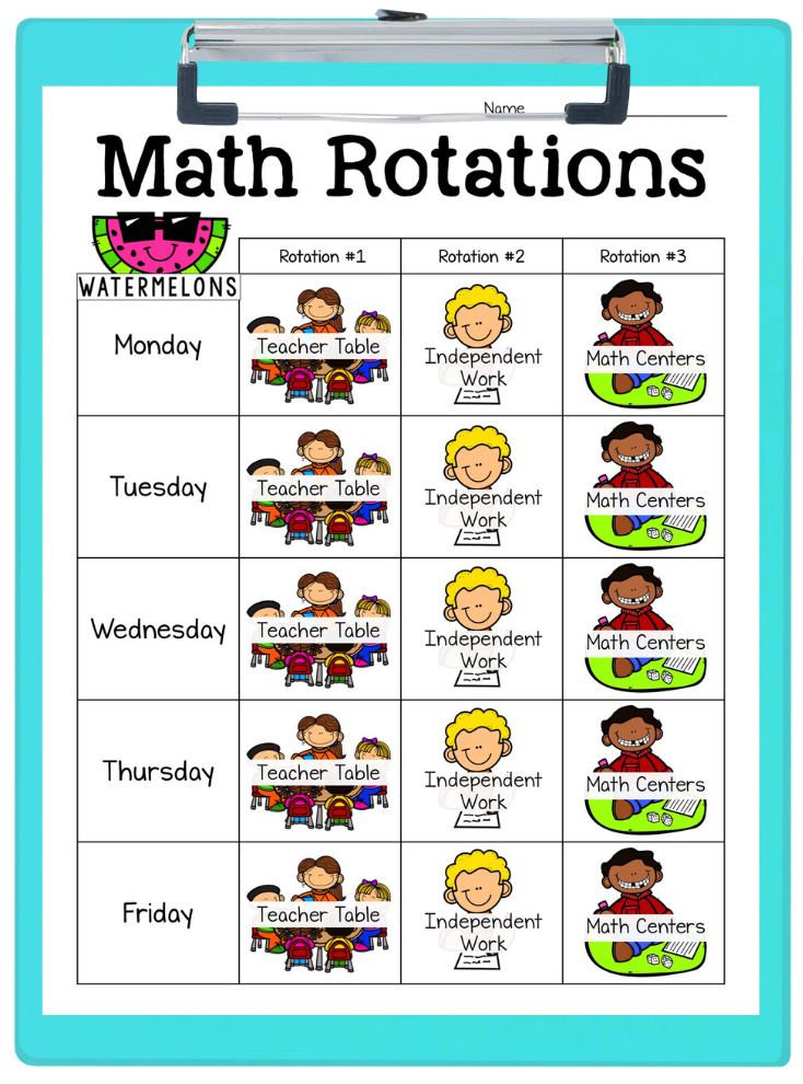 Image shows a guided math workshop student rotation sheet