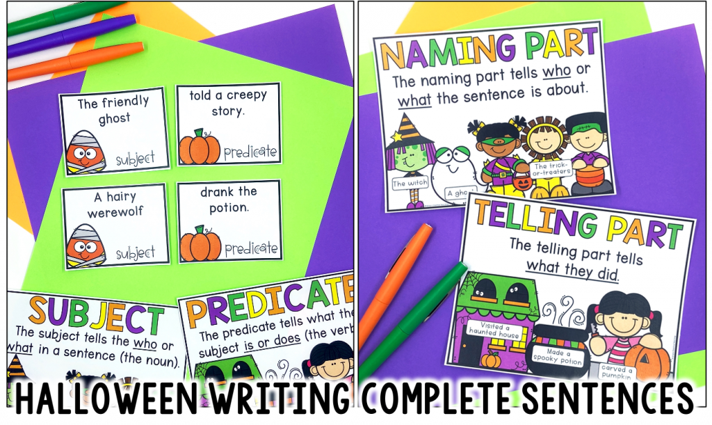 Image links to the Halloween writing complete sentences unit.
