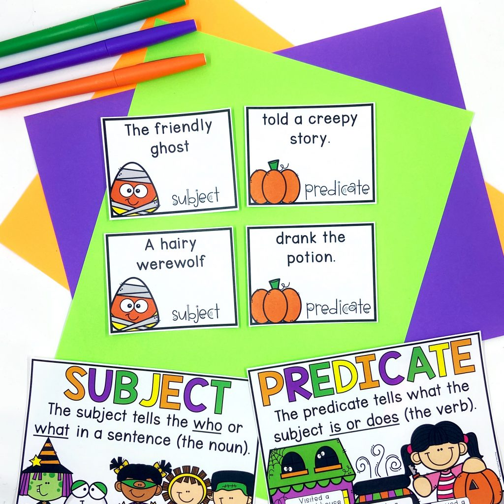 Image shows a writing complete sentences activity where students put together subjects and predicates to build sentences.
